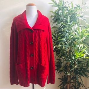 St. John's Bay | Red Knit Cardigan Sweater | XL